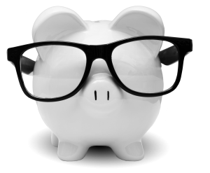 TVFCU Piggy Bank with Glasses