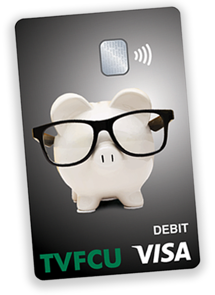 black TVFCU debit card with piggy bank mascot on it