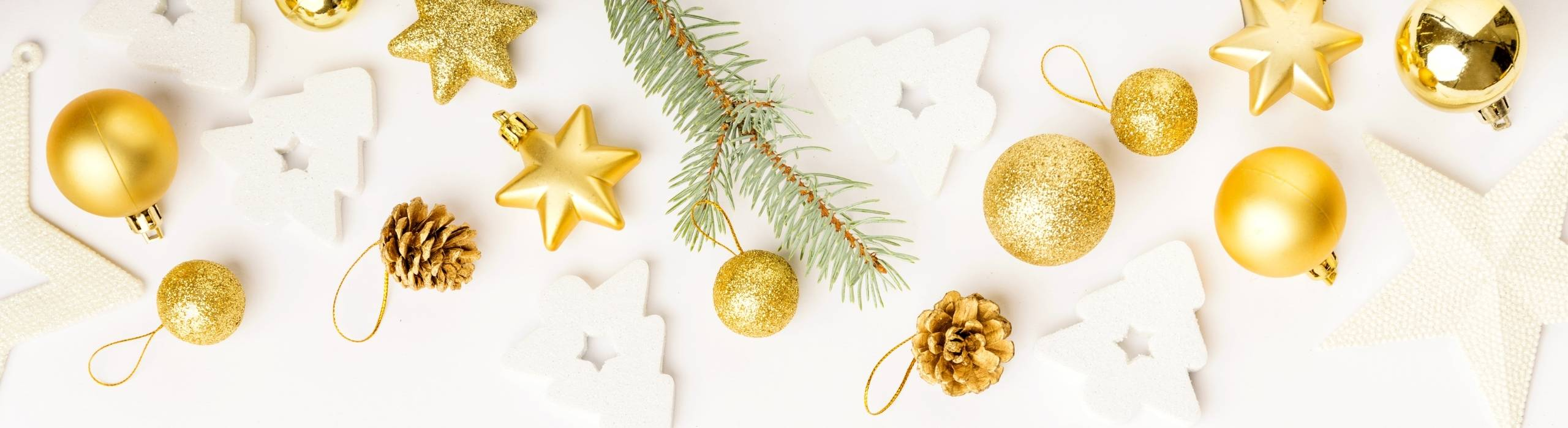 holiday decorations against light beige background